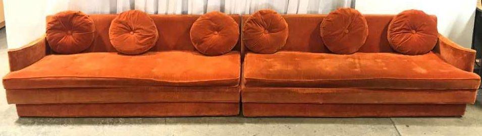 Vintage, Sectional Sofa, X2 Piece Set, Right X3 Accent Pillows Included - GA Prop Source