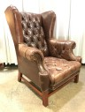 Leather Chair, Matching Ottoman Available, Tufted, Wingback